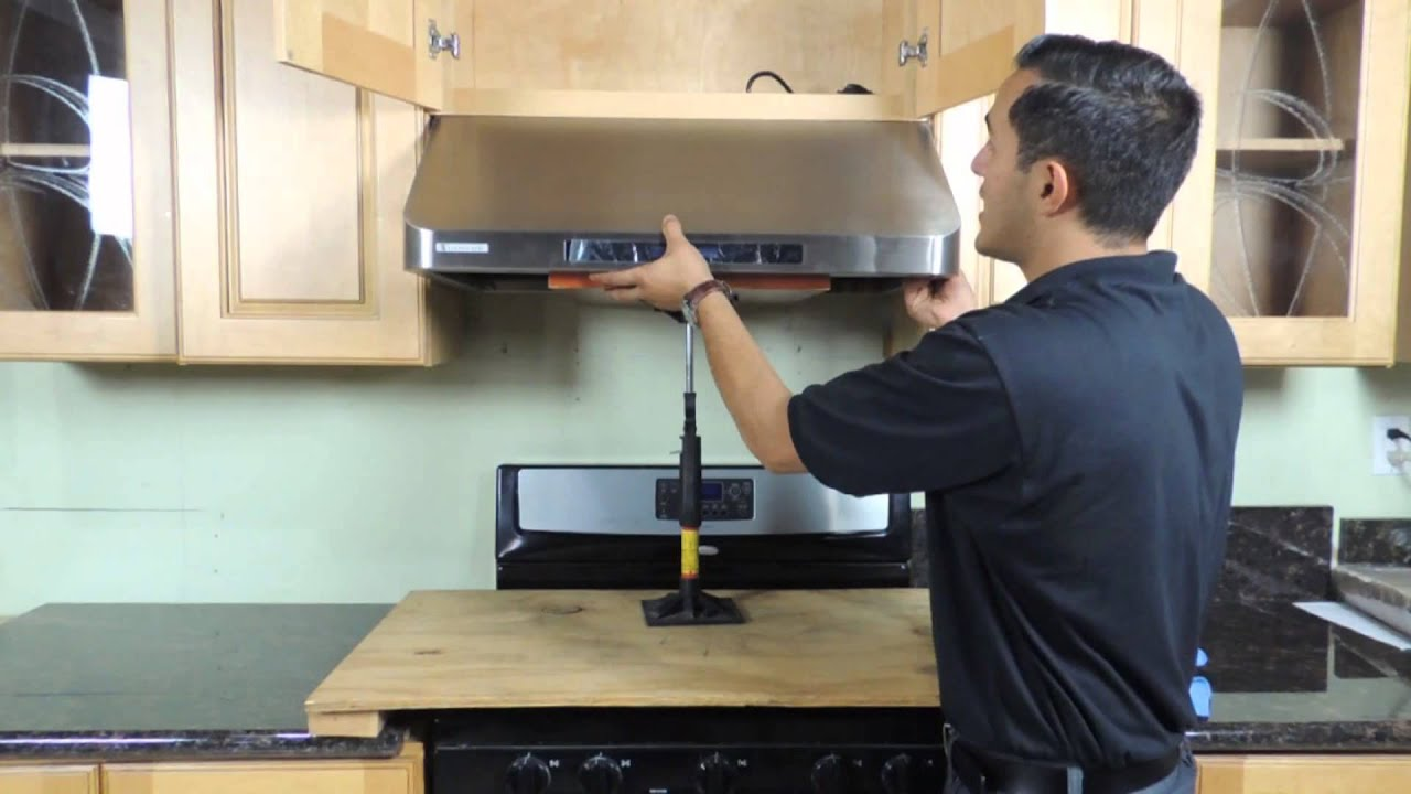 Under cabinet range hood installation new version youtube - How to vent a microwave on an interior wall ...