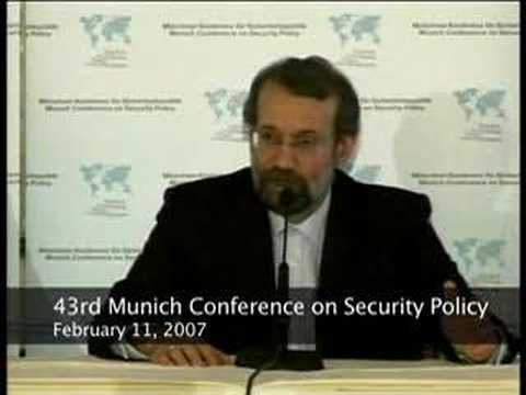 VOA's Vafa Mostaghim asks Ali Larijani a question