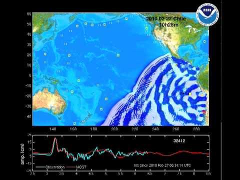 Una simulación del efecto del terremoto en Chile por todo el Océano Pacífico