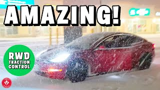 Tesla Model 3 RWD Winter Tire Test in Canadian Snow Storm