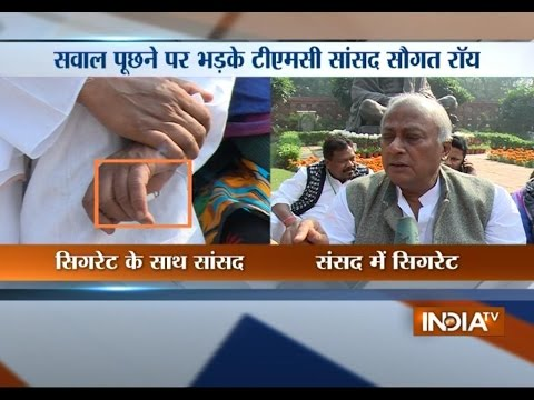 TMC MP Saugata Roy Caught Smoking In Parliament Premises - India TV
