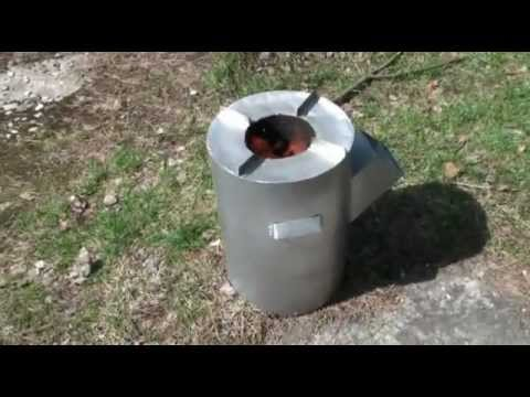DIY biomass burning rocket stove - gravity feed