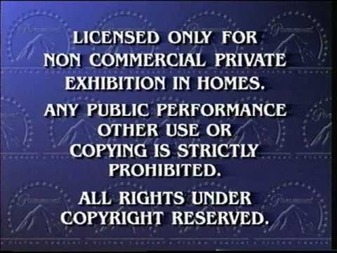 Paramount Home Video Ident. and Warning Screen (Viacom Company Version)