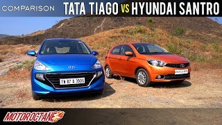 Tata Tiago vs Hyundai Santro 2019 Comparison | Hindi | MotorOctane