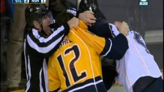 David Backes wipes out Pekka Rinne
