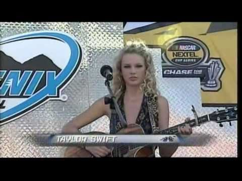 Taylor Swift sings the National Anthem at the 2006 Checker Auto Parts 500