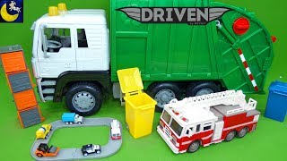 Driven by Battat Recycling Truck Mini Pocket Series 1 Surprise Cars Lights Sounds Fire Truck Toys!