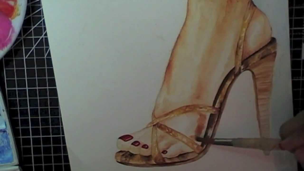 watercolour speed painting high heel shoe
