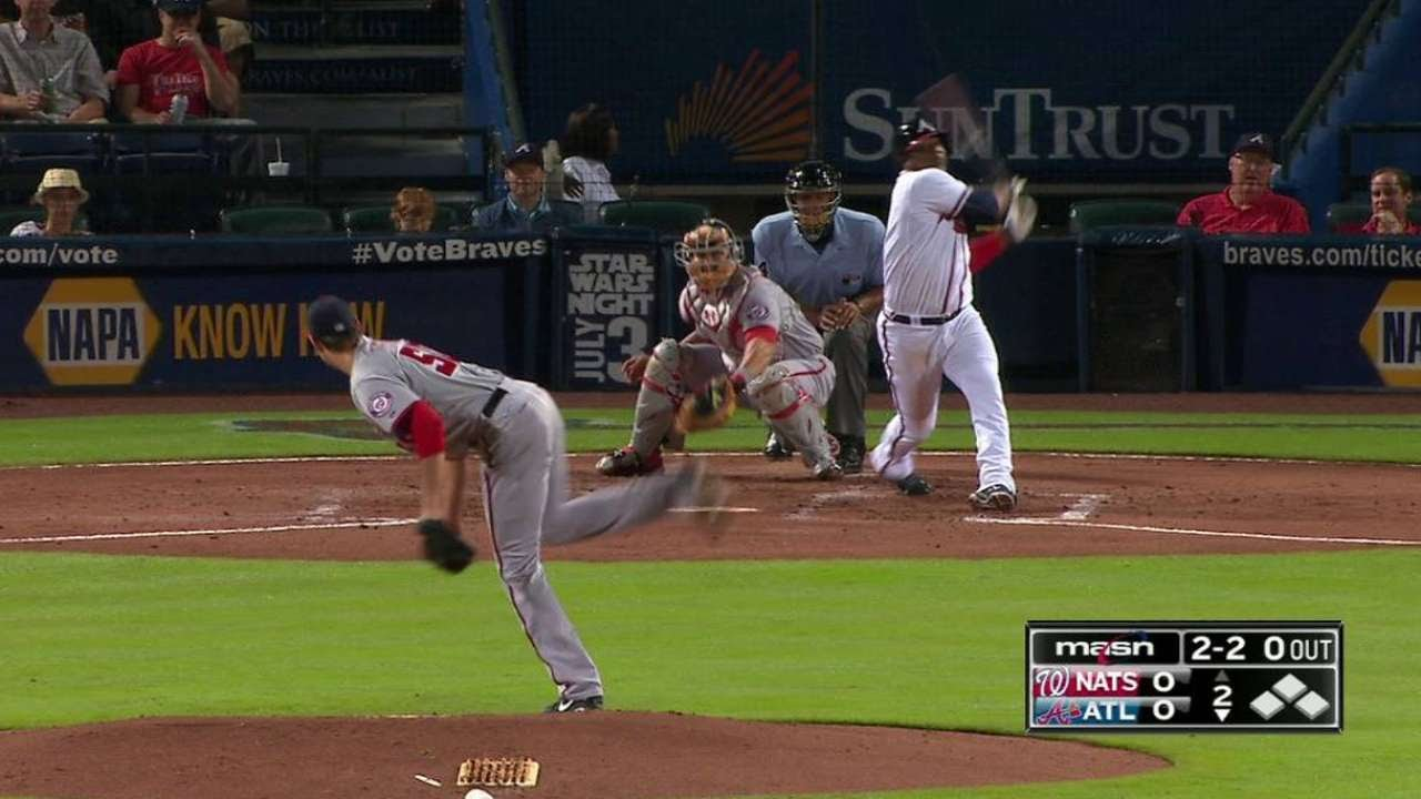 WSH@ATL: Fister fans Uribe to lead off the frame