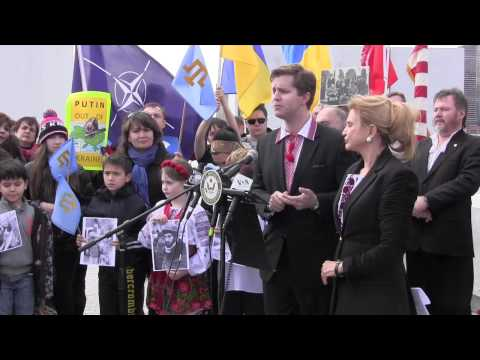 Ukraine statement on Crimea takeover, at local UN protest