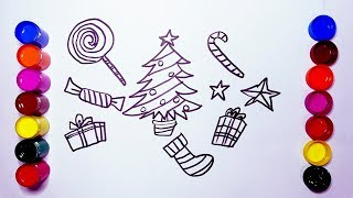 How to draw Christmas gifts for children   Christmas tree   how to color   Coloring