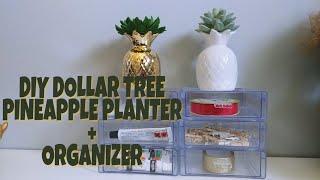DIY Dollar Tree Pineapple Planter + Organizer