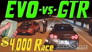 $4,000 Race | NISSAN GTR vs EVO | GRAB A LANE & K-O-T-S.COM