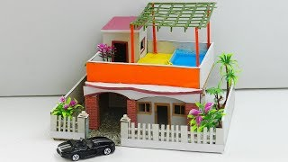 DIY Miniature House with Rooftop Swimming Pool - Easy Cardboard Crafts for Kids