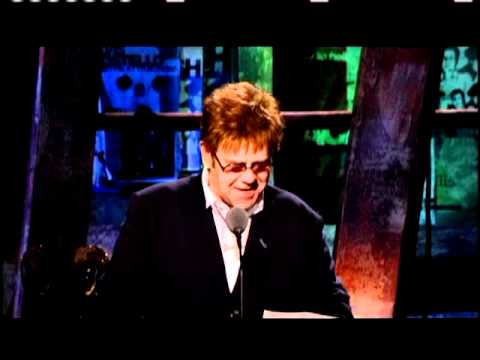Elton John inducts Elvis Costello and the Attractions Rock Hall inductions 2003