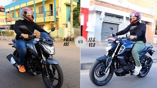 Yamaha FZ-S FI v3.0 v/s Honda X Blade ABS detailed comparison!!