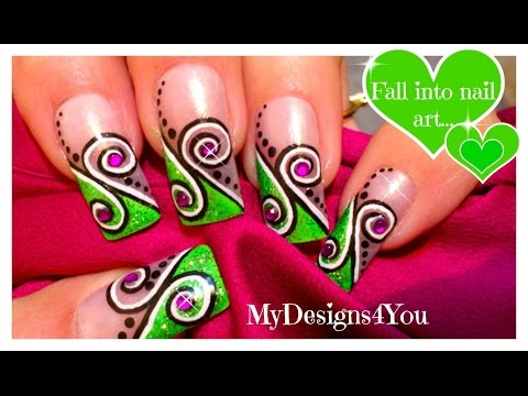 Easy Green Swirl Nail Art Design Tutorial
