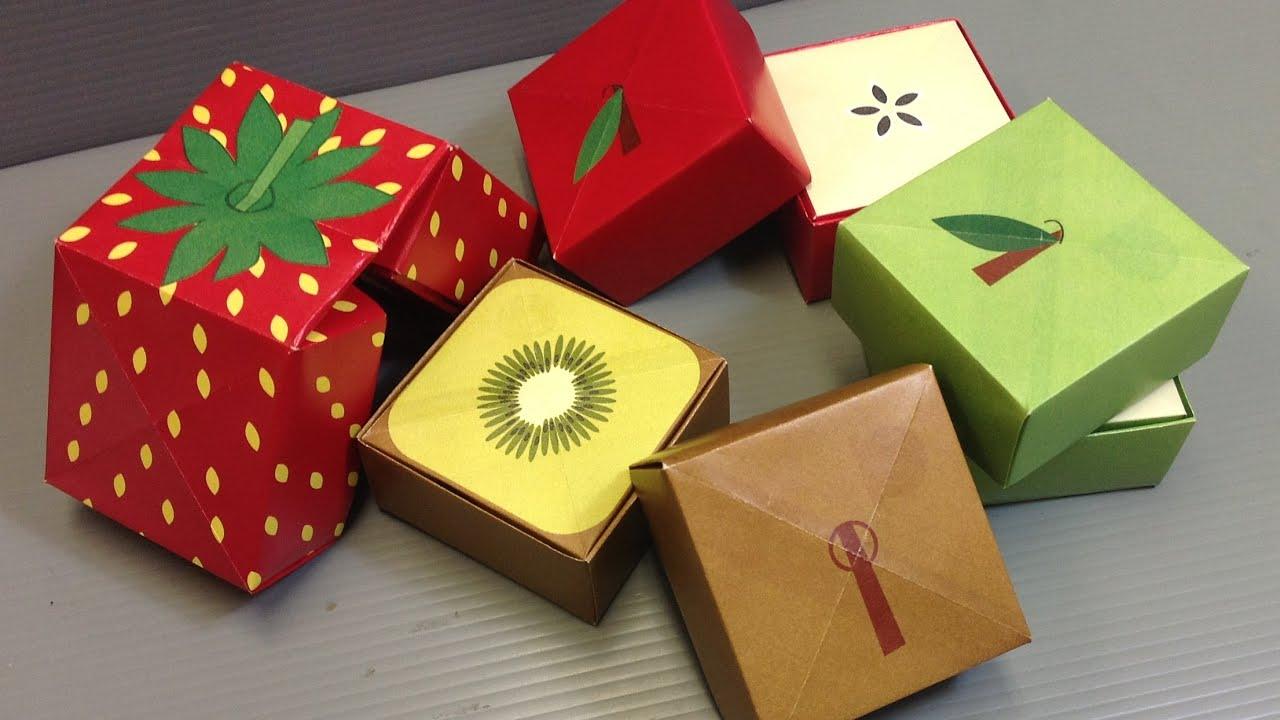 Origami Sliced Apple, Kiwi, Strawberry Cubes - YouTube - photo#8