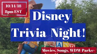 Disney Trivia Night 10.14.18 | Disney Movies | Songs | Quotes | WDW Parks