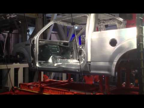 Assembly line demo at NAIAS 2014: Aluminum Ford F-150
