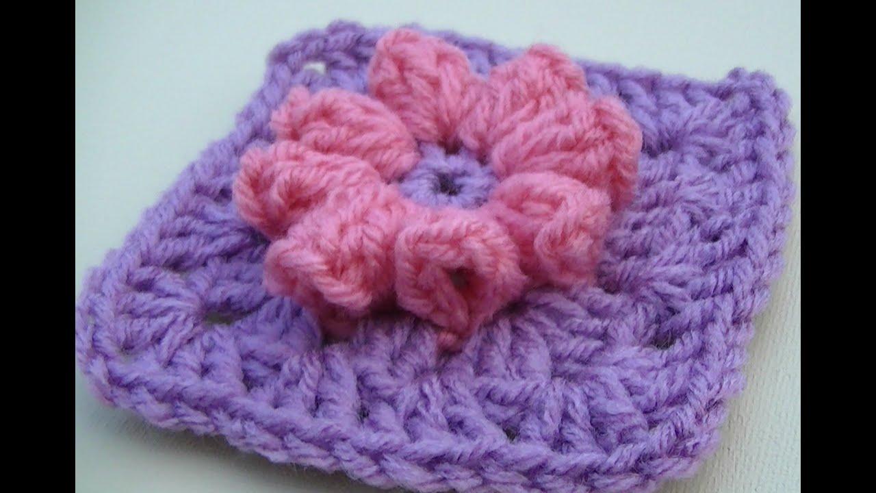 Crochet Popcorn Flower Free Pattern : Popcorn Flower Granny Square Crochet Tutorial - YouTube