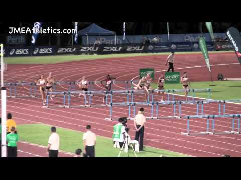2012 Perth Track Classic - W 100m Hurdles, Sally Pearson, Shannon McCann, Brianna Beahan