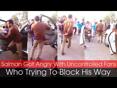 Salman Got Angry With Uncontrolled Fans Who Trying To Block His Way video