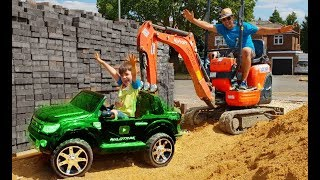 Ride on the Real BIG EXCAVATOR Construction Truck For Kids