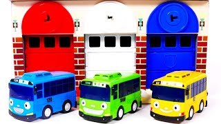 Bus Toys for Kids Learn Colors with Garage Parking Playset
