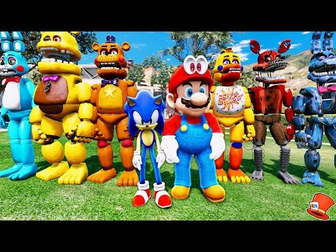 ANIMATRONICS SUPER MARIO ODYSSEY SONIC ADVENTURE SQUAD! (GTA 5 Mods For Kids FNAF RedHatter)