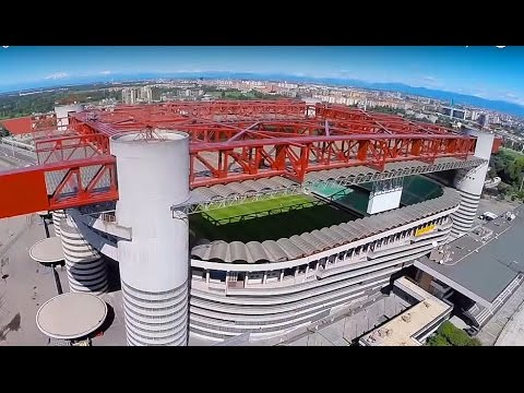 Drone flight football stadium San Siro - Milan. AC Milan Inter Milan