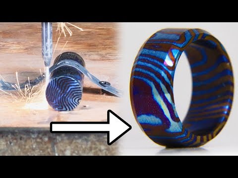 Making Timascus Ring With A 60,000 PSI Waterjet Cutter - Titanium Damascus