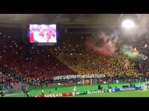 Roma-Bayern, Inno Champions e coreografia Sud, 21.10.14