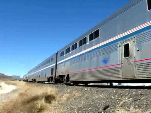 Amtrak trains going through Alpine, Texas.