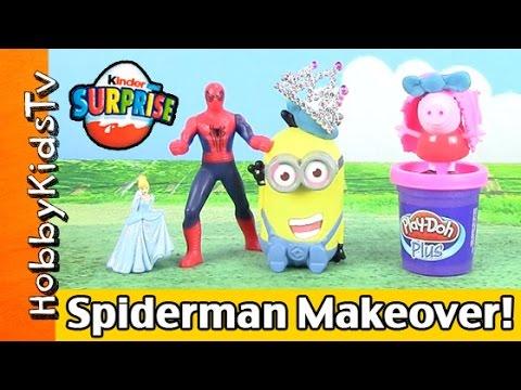 Spiderman Beauty Salon! Peppa Pig Makeover, Cinderella Minion Farts! Play-doh Hobbykidstv video