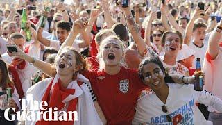 England fans in Hyde Park celebrate Kieran Trippier's goal against Croatia
