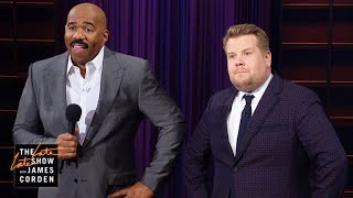 Download Lagu Steve Harvey Hijacks James Corden's Q&A Gratis Mp3 Pedia
