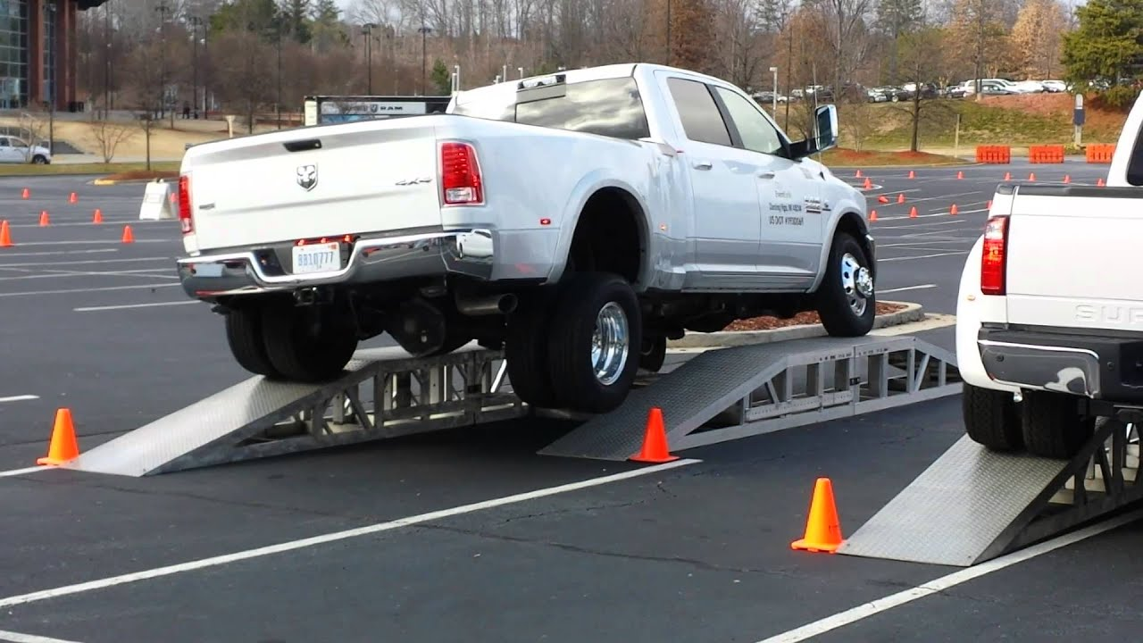 Frame Twist Test: 2014 Ram 3500 vs. 2014 Ford F350 - YouTube