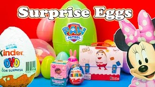 Opening Minnie Mouse and Doc Mcstuffins Surprise Egg Toys with the Assistant