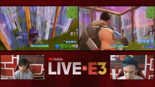 Ninja and Ali-A Duo Play Fortnite at the YouTube Live at E3 Studio Part 1