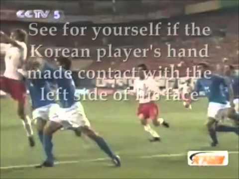 WC 2002. Francesco Coco injured by an ITALIAN PLAYER. Korea vs Italy