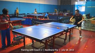 Training with Coach Li: Backhand flip, July 18, 2015
