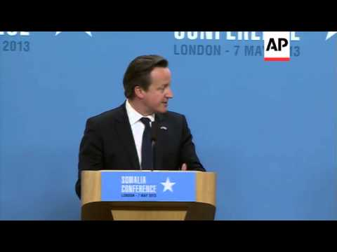 UK PM and Somalia president brief media after conference