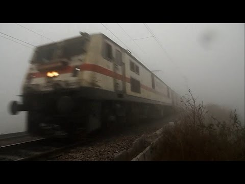 Trains In Dense Fog Of North India: Wap-7 Kalka Shatabdi Twins video