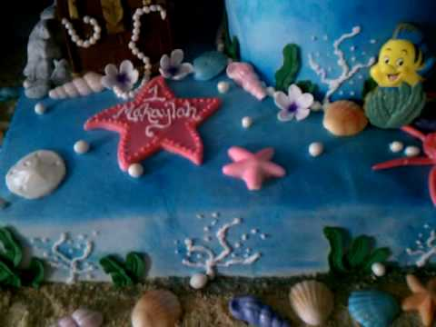 Tags: fondant little mermaid cake birthday sea shells fish decorating how to