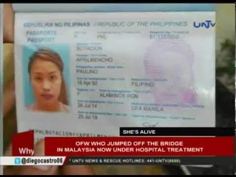OFW who jumped off the bridge in Malaysia now under hospital treatment