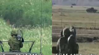 Japan Type 01 LMAT (ATM-5) VS U.S. FGM-148 Javelin ATGM Missile launch blast Comparison