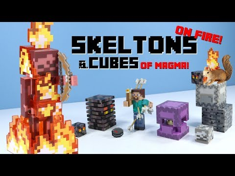Minecraft Jazwares Series 4 Skeleton on Fire & Magma Cube & Shulker & Steve with Arrows