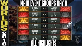 Worlds 2018 Day 8 Highlights ALL GAMES + Quarterfinal Draw, MVP, Sounds of the game & Best plays