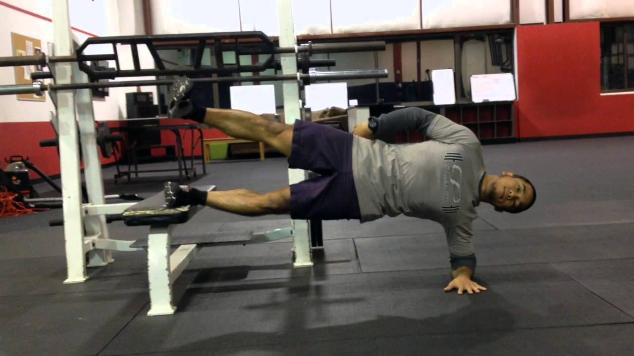 Crunch With Legs Elevated Elevated 1-leg Side Bridge